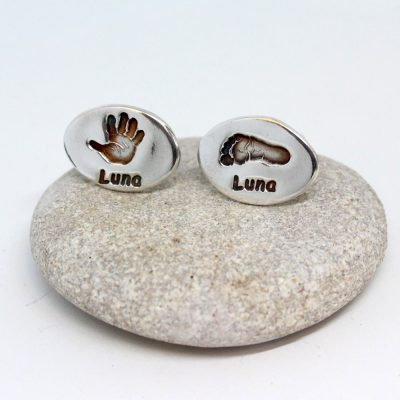 oval silver hand and footprint cufflinks