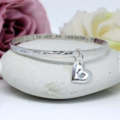 Personalised silver birthday bangle